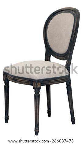 beige chair with wooden frame  - stock photo