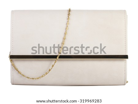 Beige clutch bag isolated on white background - stock photo