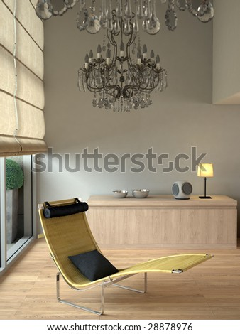Beige contemporary modern interior with chaise and chandeliers (3D render) - stock photo