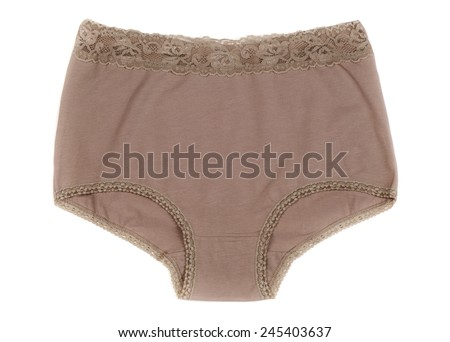 Beige Cotton panties. Isolate on white background. - stock photo