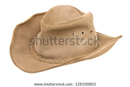 beige cowboy hat isolated on a white background - stock photo