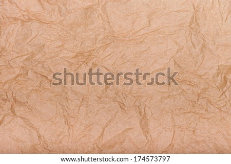 Beige crumpled paper texture, abstract grungy background - stock photo