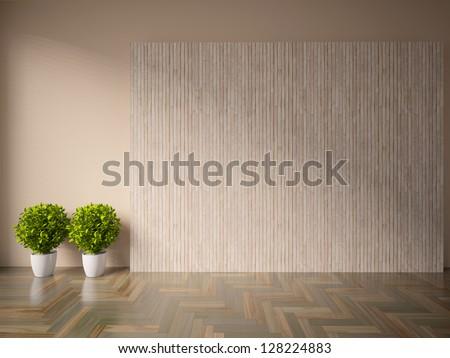 beige empty interior with plants - stock photo