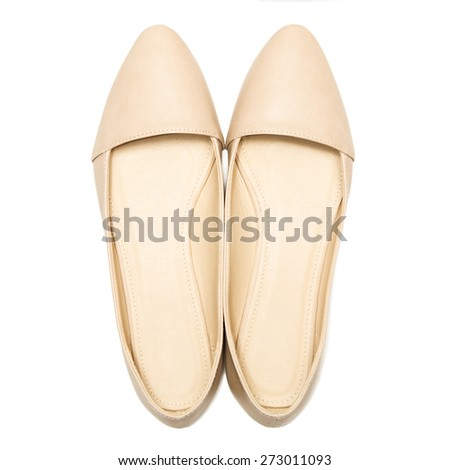 Beige female shoes, isolated on white background. top view - stock photo