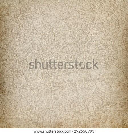 beige grunge background old genuine leather texture - stock photo