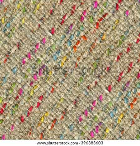 Beige handwoven fabric with multicolored stripes - stock photo