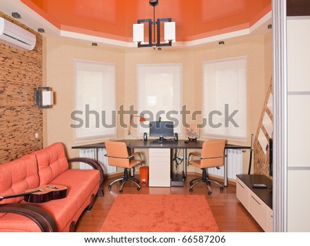 Beige interior of modern living room for students - stock photo