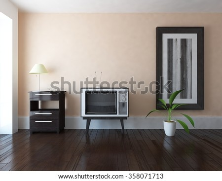 beige interior with tv. 3d illustration - stock photo