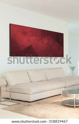 Beige leather sofa in exclusive sitting room - stock photo