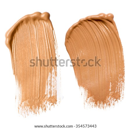 Beige Make Up Foundation on White Background  - stock photo