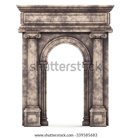 Beige Marble Composite Arch Isolated on White. 3d rendering - stock photo