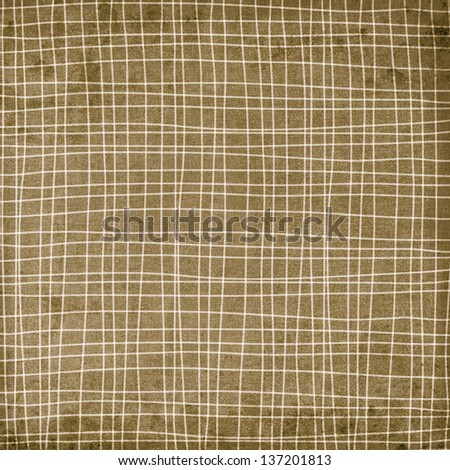 Beige plaid pattern with waves - stock photo