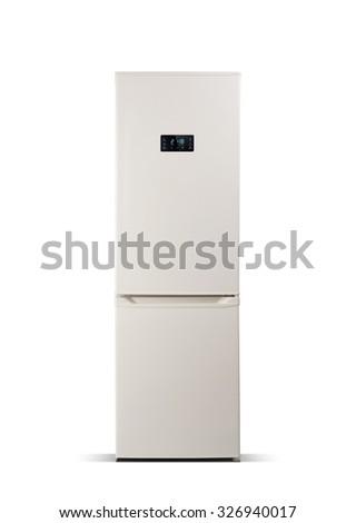 Beige refrigerator isolated on white. The external LED display, with blue glow. Fridge freezer.  - stock photo