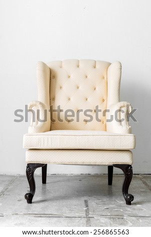 beige Retro Classic fabric style chair - stock photo