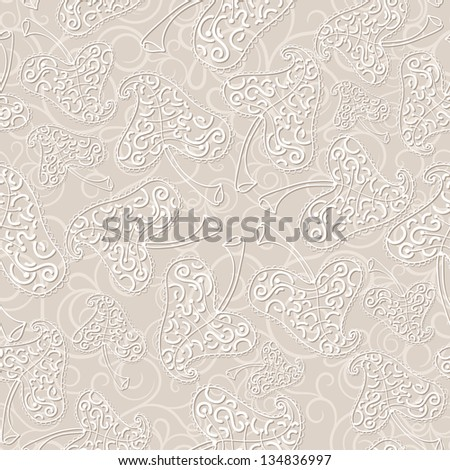 Beige seamless pattern with openwork leaves. Raster copy of vector image - stock photo