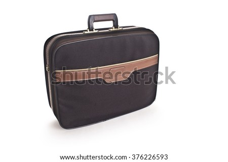 Beige suitcase or bag for gifts isolated on white background.  - stock photo