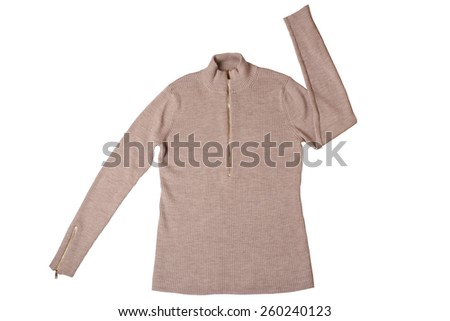 Beige sweater isolated on white background - stock photo