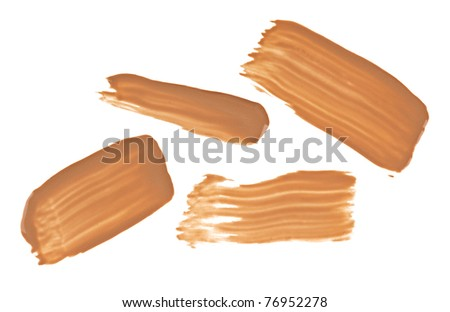 Beige tone cream (foundation) makeup samples, isolated on white - stock photo