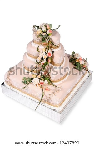 beige wedding cake - stock photo