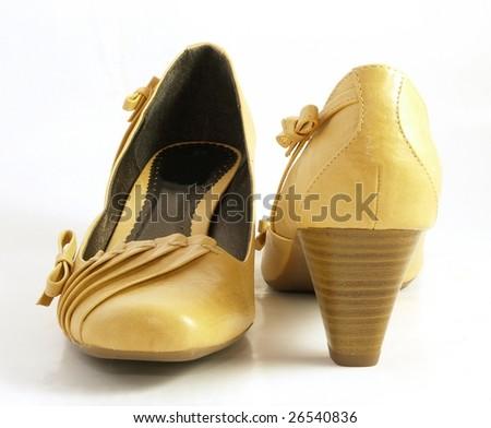 Beige women's shoes - stock photo