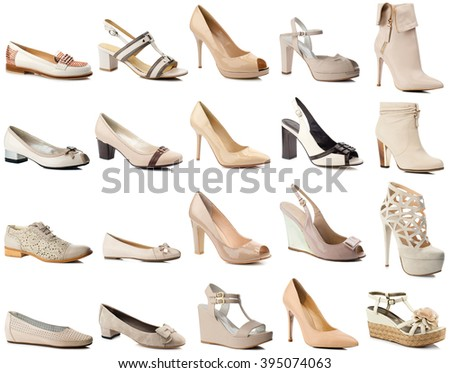 Beige women shoes collection isolated on white background.Side view. - stock photo