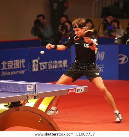 BEIJING - APRIL 15: Michael Maze (DEN) during match against Jun Mizutani (JAP) at the HYUNDAI Asia-Europe All Stars Series event day2 on April 15, 2010 in Beijing, China. - stock photo