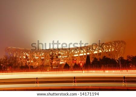 BEIJING-APRIL 28: the main stadium (birdnest) is ready for 2008 Beijing olympic games(August 8,2008). - stock photo