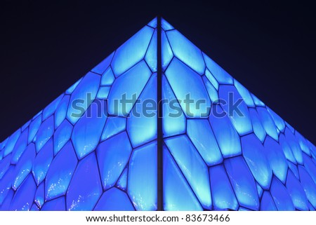 BEIJING - AUGUST 28. Beijing Olympic Water Cube on August 28, 2011. It hosted swimming, diving and synchronized swimming events. Its capacity was 17.000m2 and is reduced to 6.000 after the Olympics. - stock photo