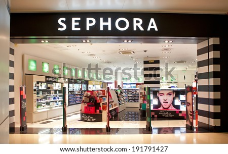BEIJING, CHINA - JANUARY 17, 2014: Sephora store; Sephora is a French brand and chain of cosmetics stores, operates over 1,700 stores in 30 countries generating over $4 billion in revenue as of 2013 - stock photo