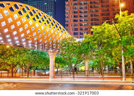 BEIJING, CHINA - MAY 20, 2015:Evening, night modern Beijing business quarter of the capital, the streets of the city with beautiful skyscrapers. Beijing. China - stock photo
