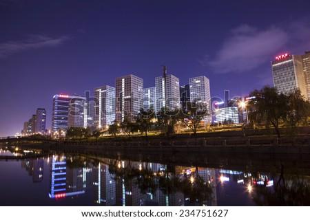 Beijing, China-Nov 30th,CBD night scene. Beijing, China on Nov 30th,2014  - stock photo
