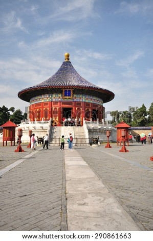 BEIJING, CHINA - SEPT 22: Visitors at the Temple of Heaven on Sept 22, 2009 in Beijing, China. The Temple of Heaven is regarded as one of the Beijing's Top 10 tourist attractions.  - stock photo