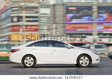 BEIJING-DEC. 6. Hyundai Santa Fe. Hyundai considers fourth plant in China to maintain its 10% market share in 2015-2016, when Chinese market grows to 20 million cars a year. Beijing, Dec. 6. 2013. - stock photo