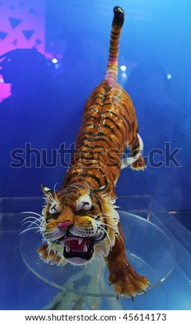 BEIJING - JANUARY 30: A tiger made of sugar is on display at the World Chocolate Dream Park on January 30, 2010 in Beijing, China. - stock photo