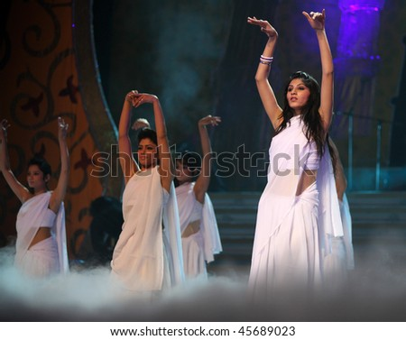 BEIJING - JANUARY 31: Dancers perform on stage during Indian Music and Dance Show at Beijing Exhibition Theater on January 31, 2010 in Beijing, China. - stock photo