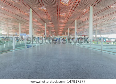 BEIJING- JULY 5, Air Main entrance of Beijing airport on July 5, 13 in Beijing . The airport has registered 488,495 annually aircraft movements and ranked 10th in the world. - stock photo