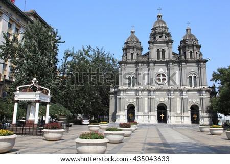 BEIJING - JULY 25, 2014 : Cathedral of Wangfujing on July 25, 2014 in Beijing, China. It is a landmark western church in Beijing. - stock photo