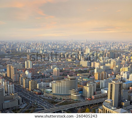 Beijing sunset cityscape - stock photo