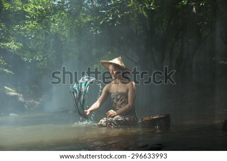 Being of young people in the district near the mountain SangKhom of Nong Khai,Thailand - stock photo