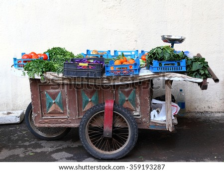 Beirut: traditional vegetable and fruit cart  - stock photo