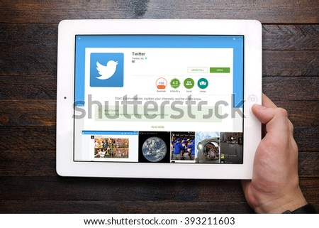 "BEKASI, INDONESIA - MARCH 20, 2016: Twitter app on Google Play Store. Twitter is an online social networking service that enables users to send and read short 140-character messages called ""tweets"". - stock photo"
