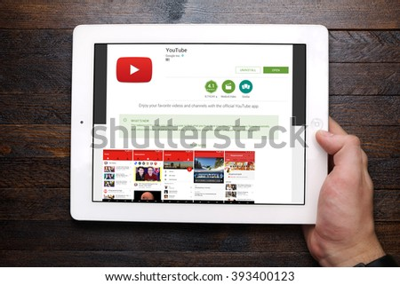 BEKASI, INDONESIA - MARCH 20, 2016: YouTube app on Google Play Store displayed on iPad. YouTube is a video-sharing website headquartered in San Bruno, California, United States. - stock photo