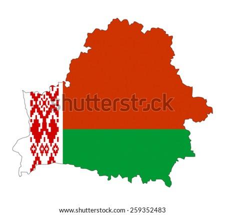 belarus country flag map shape national symbol - stock photo