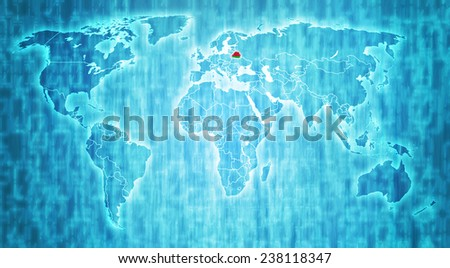 belarus flag on blue digital world map with actual national borders - stock photo