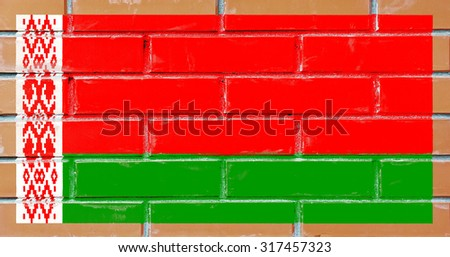 Belarus flag painted on old brick wall texture background - stock photo