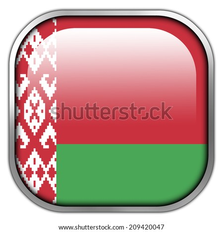 Belarus Flag square glossy button - stock photo