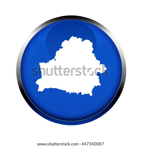 Belarus map button in the colors of the European Union. - stock photo