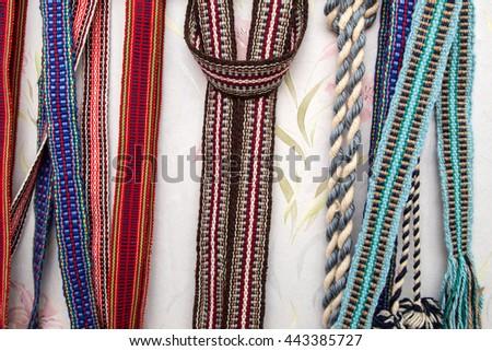 Belarusian woven belt - stock photo
