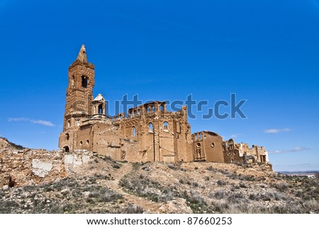 Belchite is a town in the province of Zaragoza (Spain). Is known to have been the scene of one of the symbolic battles of the Spanish Civil War, the Battle of Belchite. Now it is abandoned. - stock photo