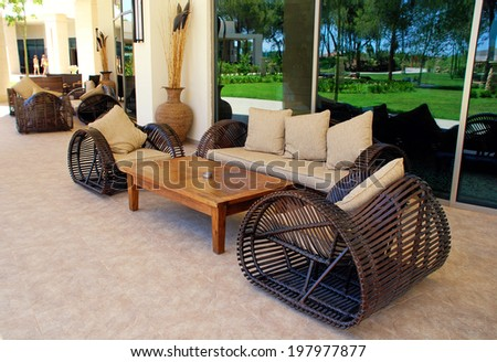 BELEK, ANTALIA, TURKEY- JULY, 17, 2007: wicker outdoor furnitures on terrace of summer luxury resort Ela Quality, Belek, Turkey. - stock photo
